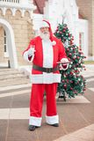 Santa Claus With Milk And Cookies In Courtyard Stock Image