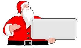 Santa Claus mit Brett Stockbild
