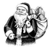 Santa Claus mit dem Sack voll von den Geschenken Vektorhand gezeichnete Abbildung Stockbild