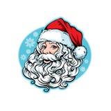 Santa Claus mit einem luxuriösen Bart und einer roten Kappe Lizenzfreie Stockbilder
