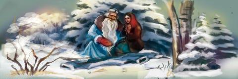 Santa Claus mit einem Mädchen im Winterwald lizenzfreie abbildung