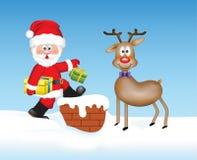Santa Claus mit einem Ren auf dem Dach Vektor Abbildung