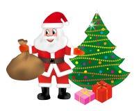Santa Claus mit einer Tasche hält voll von den Geschenken und von Weihnachtsbaum, die auf weißem Hintergrund lokalisiert werden V lizenzfreie abbildung