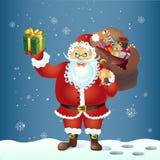 Santa Claus mit einer Tasche und einem Geschenk Auch im corel abgehobenen Betrag Stockfotografie