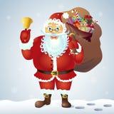 Santa Claus mit einer Tasche und einer Glocke Vektor Weihnachtsmann mit Glocke auf weißem Hintergrund Lizenzfreie Stockfotografie