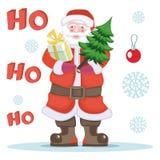 Santa Claus mit Geschenk und Weihnachtsbaum Stockfotografie