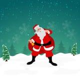 Santa Claus mit Geschenksack und -glocke für Weihnachtsfeier stock abbildung