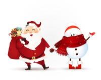 Santa Claus mit Geschenktasche voll von den Geschenkboxen, von Weihnachtsgeschenk und von wellenartig bewegender Hand des Schneem Stockfotografie