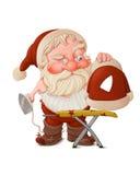 Santa Claus mit Plätteisen Stockfoto