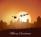 Santa Claus mit Ren-Pferdeschlitten lizenzfreie abbildung