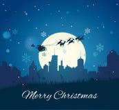 Santa Claus mit Ren-Pferdeschlitten stock abbildung