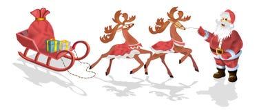 Santa Claus mit Schlitten, Rotwild und Weihnachten Lizenzfreie Stockbilder