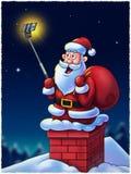Santa Claus mit Selfie-Stock Lizenzfreie Stockfotos