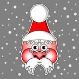 Santa Claus mit Skikappe und roten Backen Stockfotos