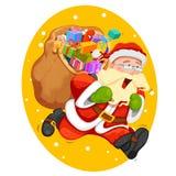 Santa Claus mit Tasche für Weihnachtsgeschenk Stockbild