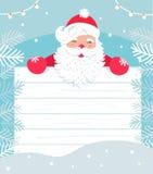 Santa Claus mit weißem hölzernem Brett für Zeichen oder Einladung zum Weihnachtsereignis Winter Snowy Backgound Vektor Lizenzfreie Stockfotografie