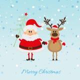 Santa Claus mit Weihnachtsbaum und Ren Lizenzfreies Stockfoto