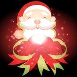 Santa Claus mit Weihnachtshintergrund und Grußkartenvektor stock abbildung