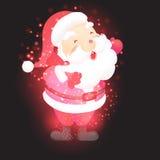 Santa Claus mit Weihnachtshintergrund und Grußkartenvektor vektor abbildung