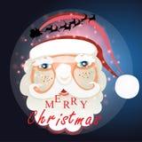 Santa Claus mit Weihnachtshintergrund und Grußkartenvektor lizenzfreie abbildung