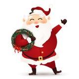 Santa Claus mit Weihnachtstanne Kranz, wellenartig bewegende Hand lokalisiert auf weißem Hintergrund Lizenzfreie Stockbilder