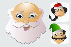 Santa Claus-Mode-Ikone einfach auf weißem Hintergrund zusammen mit Verlust und Elfenillustration Lizenzfreies Stockfoto