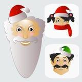 Santa Claus-Mode-Ikone einfach auf weißem Hintergrund zusammen mit Verlust und Elfenillustration Stockbilder