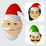 Santa Claus-Mode-Ikone einfach auf weißem Hintergrund zusammen mit Verlust und Elfenillustration Lizenzfreie Stockbilder