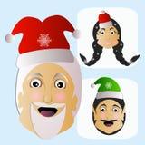 Santa Claus-Mode-Ikone einfaches editable auf weißem Hintergrund zusammen mit Fehl- und Elfenvektorillustration Lizenzfreies Stockfoto