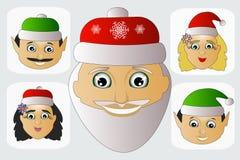 Santa Claus-Mode-Ikone einfaches editable auf weißem Hintergrund zusammen mit Fehl- und Elfenvektorillustration Stockbilder