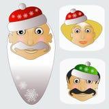 Santa Claus-Mode-Ikone einfaches editable auf weißem Hintergrund zusammen mit Fehl- und Elfenvektorillustration Lizenzfreie Stockfotos