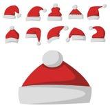 Santa Claus mody eleganci nakrętki zimy xmas wakacje czerwonego kapeluszowego nowożytnego wierzchołka odzieżowa wektorowa ilustra ilustracji