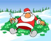 Santa Claus on money hill Stock Photo