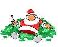 Santa Claus on money hill Royalty Free Stock Images