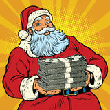 Santa Claus with money. Pop art retro comic book illustration. Christmas discounts and sales Stock Photography