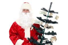 Santa Claus and the Money Tree Stock Image