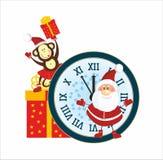 Santa Claus and Monkey. Santa, Monkey, present, New Year Clock Royalty Free Stock Photos