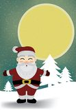 Santa Claus And Moon In Snowy Night Vector. Royalty Free Stock Images
