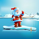 Santa Claus mostra i pollici su Fotografie Stock Libere da Diritti