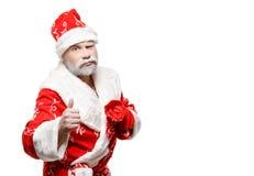 Santa Claus mostra o sinal APROVADO, fundo branco foto de stock