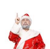 Santa Claus mostra sua mão acima, o fundo branco imagens de stock