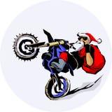 Santa Claus moto Bike Ride vector illustration royalty free illustration
