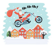 Santa Claus on motorbike Royalty Free Stock Photography