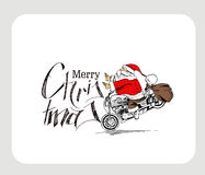 Santa claus on a motorcycle Merry Christmas! Christmas Backgroun Royalty Free Stock Images