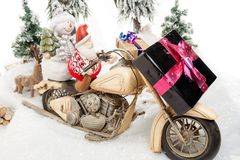 Santa Claus motorcycle trip Stock Image