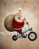 Santa Claus-motorfietslevering Stock Foto's