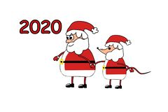2020 Santa Claus with a mouse. New Year`s and Christmas. Color illustration. 2020 Santa Claus with mouse. New Year`s and Christmas. Color illustration. Vector royalty free illustration