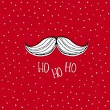 Santa Claus Moustache tirée par la main blanche Carte rouge de vecteur de Noël de Milou illustration stock