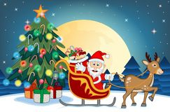 Santa Claus Moving On The Sledge With Reindeer Royalty Free Stock Photo