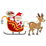 Santa Claus Moving On The Sledge With Reindeer And Brings Many Gifts Stock Images